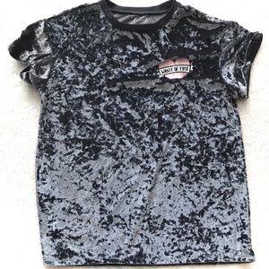 Gray short-sleeve t-shirt tee crushed velvet